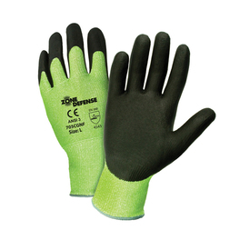PIP Green Shell Nitrile Palm Coated ANSI 3 Work Glove - Black and yellow high visibility coated palm work gloves with elastic wrists.