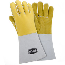 PIP IronCat Insulated Kevlar Sewn Welding Gloves - Two tan heavy insulated welding gloves with long gray wrist cover flaps.