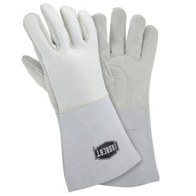 West Chester IronCat Elk 14 Inch Welding Gloves - Two white heavy insulated welding gloves with long gray wrist cover flaps.