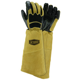 PIP IronCat Goat & Cow Stick 20 Inch Welding Gloves - Two black and tan heavy insulated extra long welding gloves with forearm cover flaps.