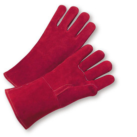 West Chester Premium Cowhide Cotton Lined Welder Gloves - Two light red gloves with light red wrist cuff cover flap.