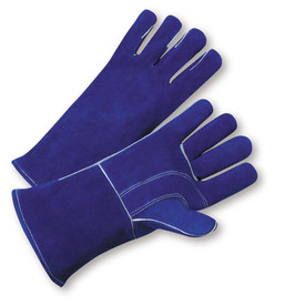 West Chester Heavy Gauntlet Cuff Welder Gloves - Pair of two purple welding gloves with reinforced thumb and gray wrist cuff.