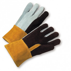 PIP Heavy Foundry Self Hem Welder Gloves - Gray and black leather gloves with natural leather cuff.