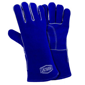West Chester IronCat 14 Inch Foam & Cotton Lined Welding Gloves - Two blue heavy insulated and lined welding gloves with long blue wrist cover flaps.