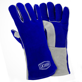 PIP IronCat Insulated Kevlar Sewn Welding Gloves - Two blue and gray heavy insulated welding gloves with long blue wrist cover flaps.