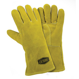 West Chester IronCat Insulated 14 Inch Added Foam Palm Welding Gloves - Two tan heavy insulated welding gloves with long wrist cover flaps.