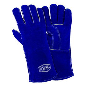 PIP IronCat 14 Inch Welted Fingers Welding Gloves - Two blue heavy insulated welding gloves with long blue wrist cover flaps.