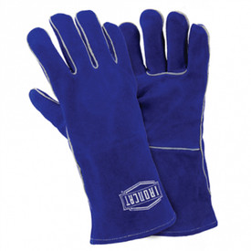 PIP IronCat Women's Insulated Cowhide Welding Gloves - Blue leather gloves with grey accent striping on the seams, with IronCat logo stamped on back in white.