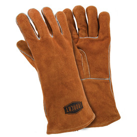 West Chester IronCat 14 Inch Split Cowhide Welding Gloves - Two orange heavy insulated welding gloves with long orange wrist cover flaps.