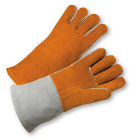 PIP Reinforced Thumb Strap Welder Gloves - Pair of two light orange welding gloves with reinforced thumb and gray wrist cuff.