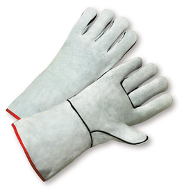 PIP Cowhide One Piece Palm Welder Gloves - Two white gloves with black and red hem and gray wrist cuff cover flap.