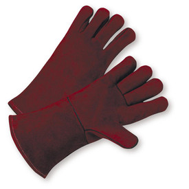 PIP Cowhide Cotton Lined Welder Gloves - Two dark red gloves with red hem and dark red wrist cuff cover flap.