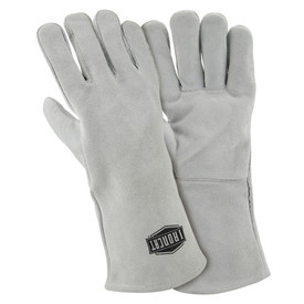 West Chester IronCat Cotton Lined Split Cowhide Welding Gloves - Two gray heavy insulated welding gloves with long gray wrist cover flaps.