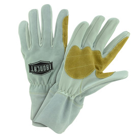 West Chester IronCat Premium 4 Inch Goat MIG Welding Gloves - Two thin insulated gray and tan welding work gloves with gray wrist cover flaps.