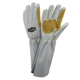 PIP IronCat 8 Inch Cuff Pre-Curved Fingers MIG Welding Gloves - Two thin insulated gray and tan welding work gloves with long gray forearm.