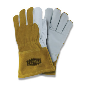 West Chester IronCat Premium Goatskin TIG Welding Gloves - Two brown and gray heavy insulated welding gloves with long wrist cover flaps.
