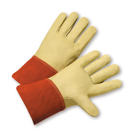 PIP Cowhide Gauntlet Cuff TIG Welder Gloves - Two tan leather palm work welding gloves with orange wrist cuff cover flap.