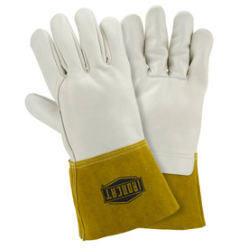 PIP IronCat Heavyweight Cowhide Unlined MIG Welding Gloves - White leather gloves with brown leather cuffs and IronCat logo stamped in black.