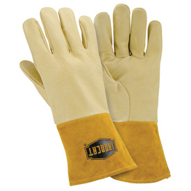 PIP IronCat Heavyweight Pigskin Heat Resistant MIG Welding Gloves - Two tan heavy insulated welding work gloves with natural leather wrist cover flaps.