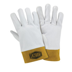 PIP IronCat Premium Kidskin Kevlar Sewn Welding TIG Gloves - Two white heavy insulated sewn welding work gloves with small yellow wrist cover flaps.