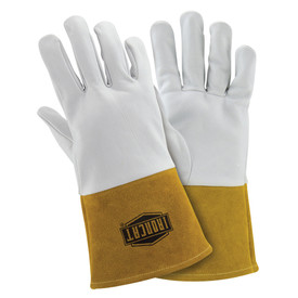 West Chester IronCat Premium Soft Kidskin Welding TIG Gloves - Two white heavy insulated welding gloves with long yellow wrist cover flaps.