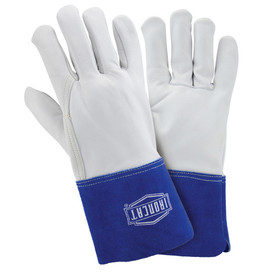 West Chester IronCat Premium Goatskin TIG Welding Gloves - Two white heavy insulated welding gloves with long blue wrist cover flaps.