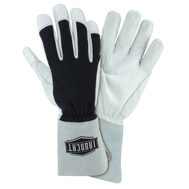 PIP IronCat Nomex Back Hand TIG Welding Gloves - Two thin insulated gray and black welding work gloves with gray wrist cover flaps.
