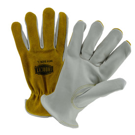 PIP IronCat Premium Cowhide Unlined Iron Work Gloves - Two outer yellow inner gray cowhide work gloves with comfortable fit wrist.