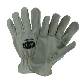 PIP IronCat Premium Cowhide Unlined Gray Iron Work Gloves - Two light gray cowhide work gloves with comfortable fit wrist.