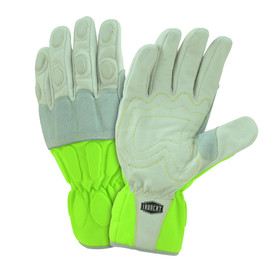 PIP IronCat Hi-Viz Utility Kevlar Sewn Buffalo Gloves - Two high visibility yellow and gray work gloves with padded fingers and palm.