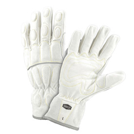 West Chester IronCat Wrist Padded Buffalo Utility Gloves - Two white work gloves with dark gray lining and padded fingers and palm.