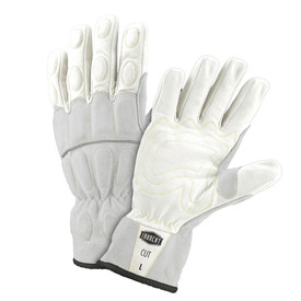 PIP IronCat Kevlar Lined Buffalo Utility Gloves - Two white and gray work gloves with dark gray lining and padded fingers and palm.