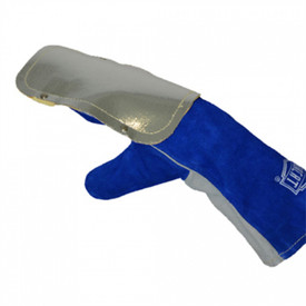 PIP IronCat Welding Spatter Protective Hand Pad - Heavy blue mitt style glove with silver reflective panel on the back of the hand, and a grey inner hand color.