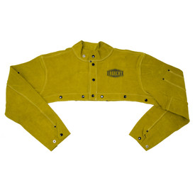 PIP IronCat Heavy Welding Brown Leather Cape Sleeve - Dark yellow buttoned welding sleeve cape with size adjustable wrists.