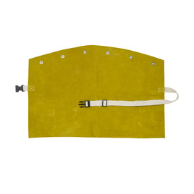 PIP IronCat Heat Resistant Leather Brown Welding Bib - Adjustable size clip dark yellow welding bib with button holes.