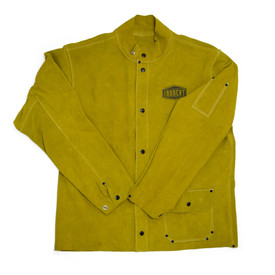 PIP IronCat Heat Resistant Leather Brown Welding Jacket - Dark yellow buttoned leather welding jacket with size adjustable wrists.