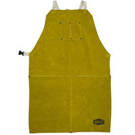 PIP IronCat Heat Resistant Leather Brown Welding Apron - Dark yellow buttoned leather welding apron with size adjustable clip.