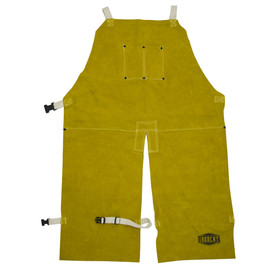 PIP IronCat Heat Resistant Leather Split Leg Brown Welding Apron - Dark yellow buttoned leather welding split leg apron with size adjustable clip.