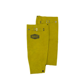 West Chester IronCat Heat Resistant Leather Brown Welding Sleeves - Adjustable size clip dark yellow welding sleeves with button holes.