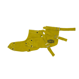 PIP IronCat Heat Resistant Leather Brown Welding Shoe Protectors - Adjustable size clip dark yellow welding shoe protective sleeves with button holes.
