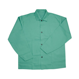 West Chester IronTex Flame Retardant 30 Inch Cotton Welding Jacket - Flame retardant green fabric buttoned and collared welding jacket.