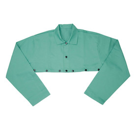 PIP IronTex Flame Retardant Cotton Welding Cape Sleeve - Dark green buttoned welding sleeve cape with size adjustable wrists.