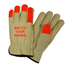 PIP EN533 Leather Driver Work Glove - Pair of two orange tipped high visibility safety work gloves and watch your hands warning.