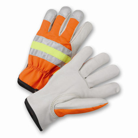 PIP Hi-Viz ANSI Level 2 Leather Driver Work Glove - Pair of two high visibility orange and yellow safety work gloves with reflective strips and black hem.