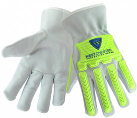 PIP Cowhide Hi-Viz TPR And Cotton Lining Driver Work Glove - Grey gloves with bright green plastic finger and knuckle guards. .