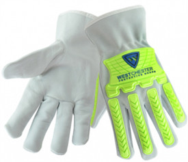 PIP Cowhide Hi-Viz TPR Driver Work Glove - Grey gloves with bright green plastic finger and knuckle guards. .
