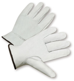 PIP White Goatskin Leather Driver Work Glove - Pair of two white leather safety work gloves with black hem.