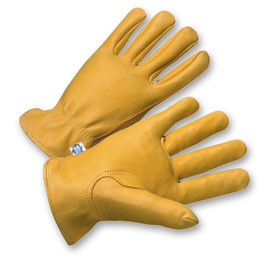 PIP Tan Deerskin Leather Driver Work Glove - Pair of two yellow tan leather safety work gloves with yellow hem.