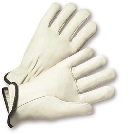 PIP Cowhide Thermal Lined Leather Driver Glove - Pair of two thermal leather white gloves with black hem.