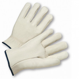 West Chester White Cowhide Leather Driver Work Glove - White leather glove with black trim on cuff.